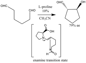 Intramolecular aldolization of a dialdehyde via an enamine intermediate.