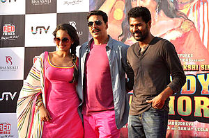 Prabhu Deva - Deva with Sonakshi Sinha and Akshay Kumar during the promotions of film Rowdy Rathore