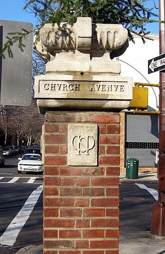 Prospect Park South - Image: Prospect Park South gatepost jeh