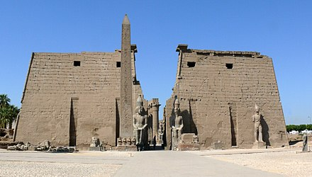 Pylon of the Temple of Luxor with the remaining obelisk (of two) in front (the second is in the Place de la Concorde in Paris). Pylons and obelisk Luxor temple.JPG