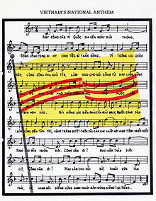 "A sheet music notation of ""March of the Youths"", with the South Vietnamese flag in the background."