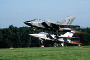 Formation flight of an RAF Tornado GR.1 and a Tornado F.2 prototype.