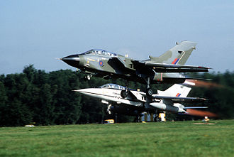 Panavia Tornado - Formation take-off of an RAF Tornado GR.1 and a Tornado F.2 prototype in September 1982