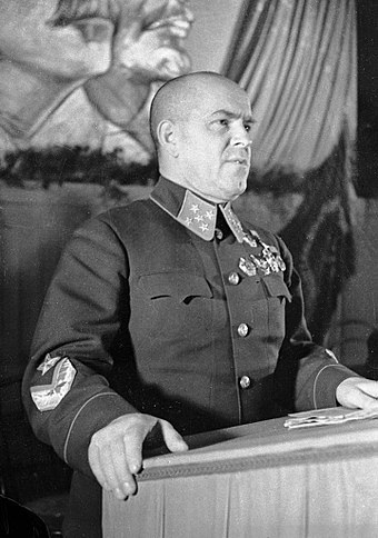 Marshal Zhukov speaking at a military conference in Moscow, September 1941 RIAN archive 2410 Marshal Zhukov speaking.jpg