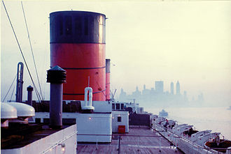 RMS Queen Elizabeth - In New York Harbor approaching Manhattan, 1965