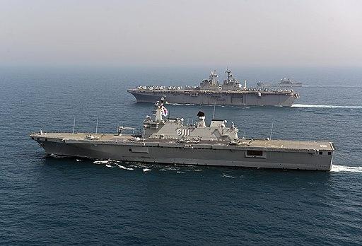 ROKS Dokdo (LPH 6111) and USS Bonhomme Richard (LHD-6) underway in March 2014