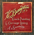R Bampton Coach Painting & Carriage Lining enamel advert at the Louwman museum.JPG