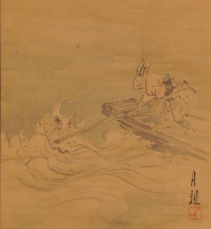 Kachi-kachi Yama - The climactic scene of Kachi-kachi Yama, in which the rabbit strikes the already-sinking tanuki with an oar, and reveals his vendetta; detail from a Japanese painting circa 1890s-1900s