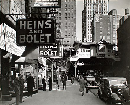 Radio Row in 1936, with the Cortlandt Street station in the background Radio Row-Berenice Abbott.jpg