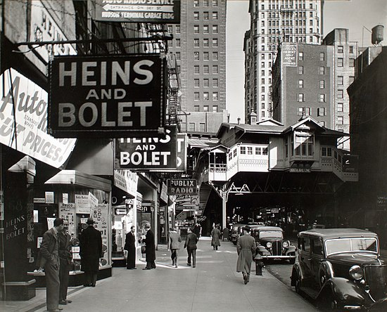 New York's Radio Row in 1936, with the Cortlandt Street station in the background, as seen in a photograph by Berenice Abbott Radio Row-Berenice Abbott.jpg