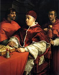 Pope Leo X with his cardinal-cousin Giulio de' Medici (left, future Pope Clement VII)