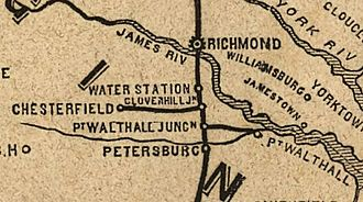 Richmond and Petersburg Railroad - In 1848, the Chesterfield Railroad is no longer shown and the Clover hill is shown connecting to coal mines, the Clover Hill Pits.