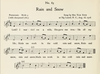 rain and snow as collected by olive dame campbell and cecil sharp 1917