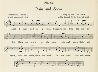 Rain and Snow - Rain and Snow as collected by Olive Dame Campbell and Cecil Sharp, 1917.