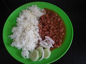 Rajma - Rajma served with boiled rice from India.