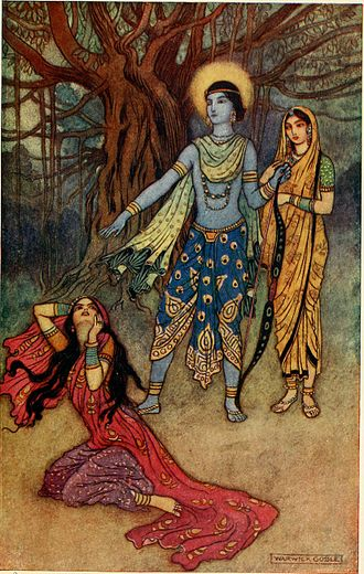 Rama - Ravana's sister Suparnakha attempts to seduce Rama and cheat on Sita. He refuses and spurns her (above).