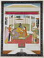 Rama and Sita enthroned in a pavilion, attended by Hanuman (6125134066).jpg
