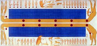 KV1 - Double image of the sky goddess Nut on the ceiling of KV1