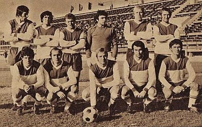 Rapid Bucuresti team in the 1974-75 season, in which they promoted in the first league and also won the Romanian Cup. Rapid 1974-1975.jpg