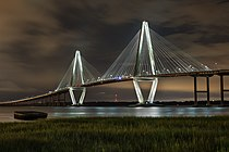 Ravenel Bridge at night from Mt Pleasant.jpg
