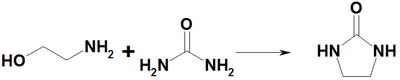 Reaction of ethanolamine with urea.png