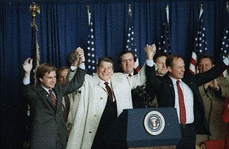 1984 United States presidential election in Michigan - Reagan campaigning in Saginaw, Michigan with Bill Schuette and Jack Lousma