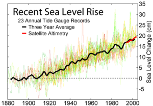 Sea level measurements from 23 long tide gauge records in geologically stable environments show a rise of around 20 centimeters per century (2 mm/year).