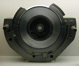"""Record press - Cutaway shot of one side of a 7"""" record mould with stamper fitted."""