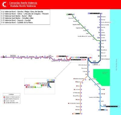 Mapa Metro Valencia 2015.Cercanias Valencia Wikipedia