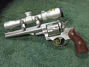 Ruger Redhawk - An older 1980s Ruger Redhawk Hunter in .44 Magnum with a custom scope.