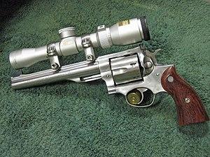 Ruger Redhawk - An older 1980s Ruger Redhawk Hunter in .44 Magnum with a custom scope.