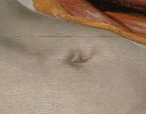The Anatomy Lesson of Dr. Nicolaes Tulp - The corpse's navel is formed from the letter R