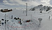 Researchers at the test site of WSL Institute for Snow and Avalanche Research SLF, Weissfluhjoch