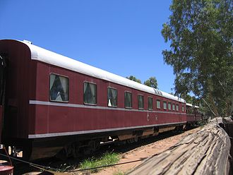 The Ghan - Narrow gauge Ghan carriage in Alice Springs in February 2009