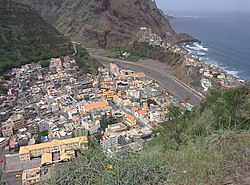 View of Ribeira Grande town and stream
