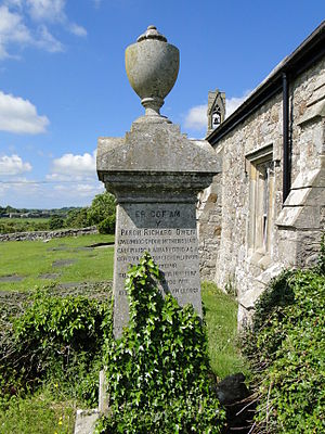 Richard Owen (minister) - Owen's memorial at St Cristiolus's Church, Llangristiolus, Anglesey
