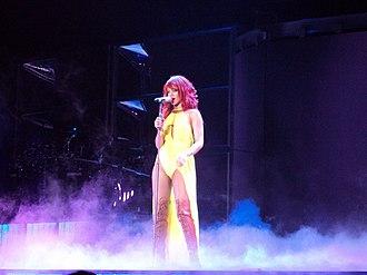 """California King Bed - Rihanna performing """"California King Bed"""" in Oakland, California."""