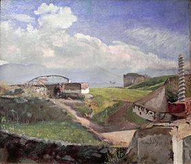 Sluse ved Pompeji. En friluftsmaler med parasol
