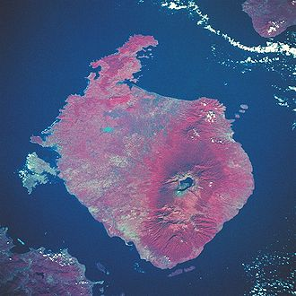 Alas Strait - Color infrared view of Rinjani Volcano on Lombok Island, May 1992. Lombok Strait and Bali is on the top, Alas Strait and Sumbawa Island is on the bottom.