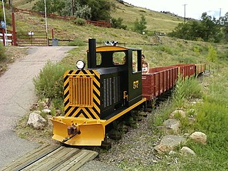 Heritage Square (Golden, Colorado) - The Rio Golden Railroad at walkway crossing near the alpine slide.