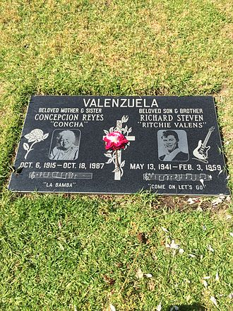 Ritchie Valens - Grave of Valens and his mother Concepcion at San Fernando Mission Cemetery
