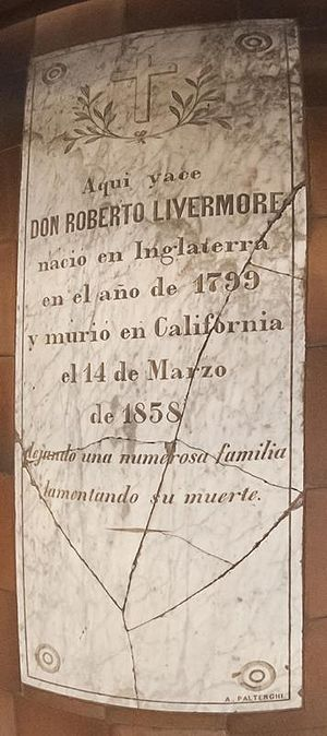 Robert Livermore - Livermore's grave marker currently in the mission floor. Note the date of death at 14 March 1858.