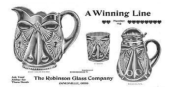 old glassware advertisement showing a pitcher and tumbler