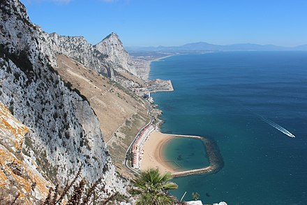 View of the Rock of Gibraltar from the Mediterranean Steps Rock of Gibraltar from the Mediterranean Steps.jpg
