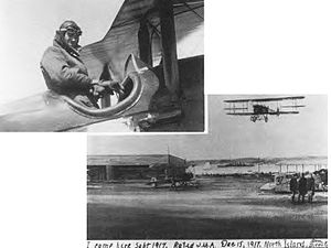 United States Army World War I Flight Training -  Flight Training at North Island (Later Rockwell Field), San Diego, California in December 1917. Upper left photo shows Major Hugh Knerr in the cockpit of a Curtiss JN-4 Jenny upon his arrival at the airfield.