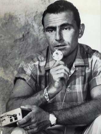 Rod Serling - Serling working on a script with a dictating machine, 1959