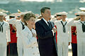 Ronald and Nancy Reagan pledging aboard USS Iowa 19860704.jpg