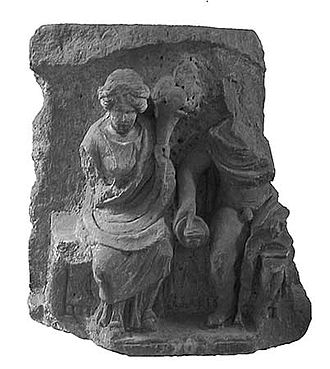 Rosmerta - Relief from Autun depicting Rosmerta and Mercury