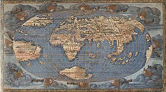 Francesco Rosselli - World Map oval by Francesco Rosselli, copper plate engraving on vellum, National Maritime Museum, 1508