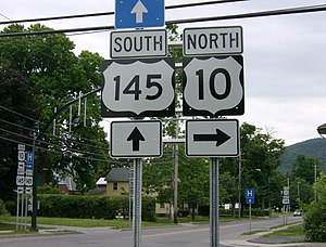 New York State Route 10 - Erroneous U.S. Route shields at the north end of NY 10's overlap with NY 145 in Cobleskill